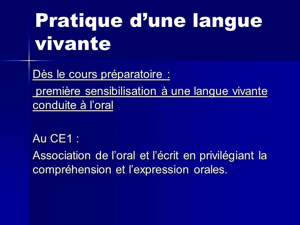 Pratique dune langue vivante Dès le cours préparatoire : première sensibilisation à une langue vivante conduite à loral première sensibilisation à une