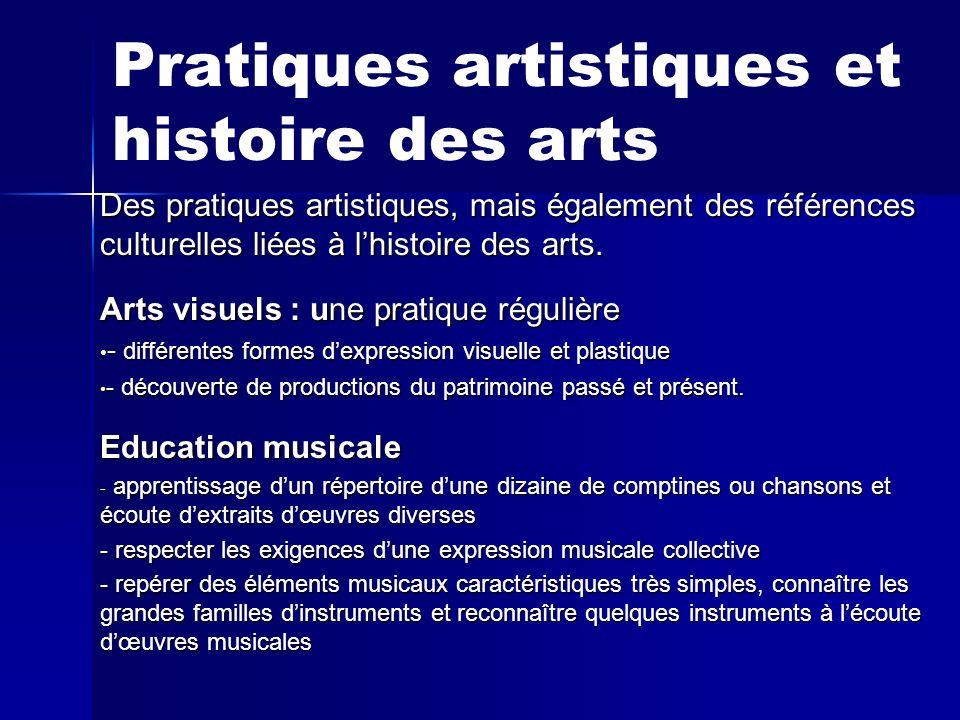 Pratiques artistiques et histoire des arts Des pratiques artistiques, mais également des références culturelles liées à lhistoire des arts. Arts visue