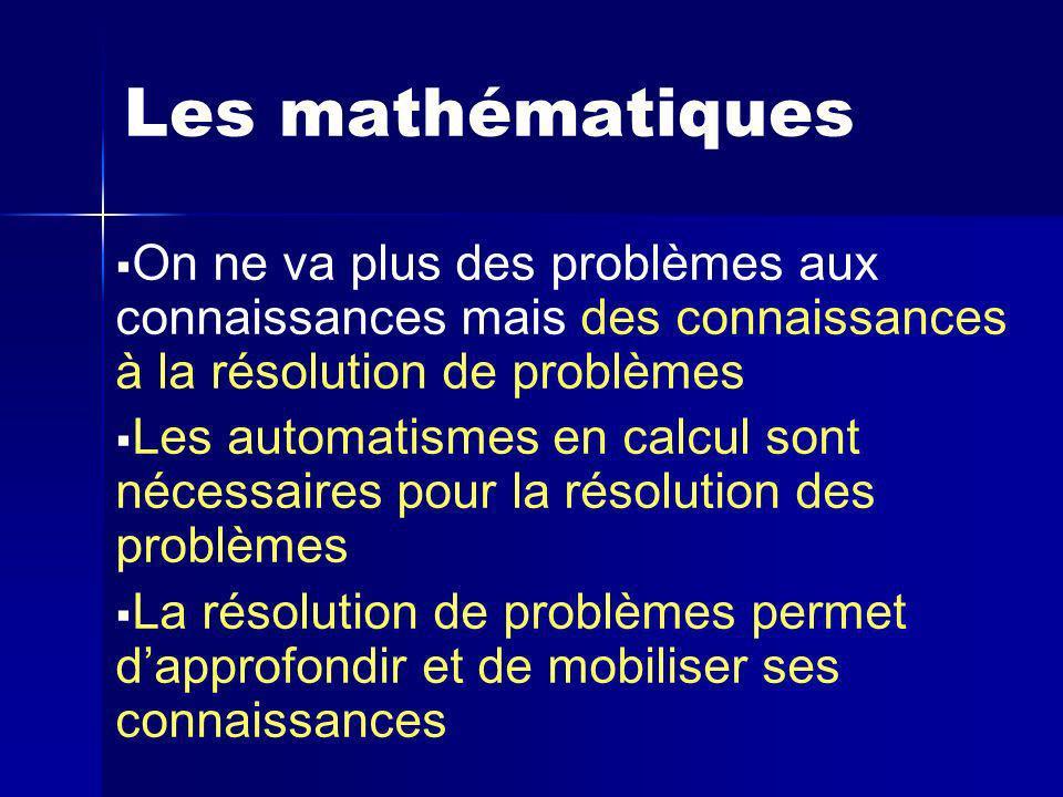 Les mathématiques On ne va plus des problèmes aux connaissances mais des connaissances à la résolution de problèmes Les automatismes en calcul sont nécessaires pour la résolution des problèmes La résolution de problèmes permet dapprofondir et de mobiliser ses connaissances