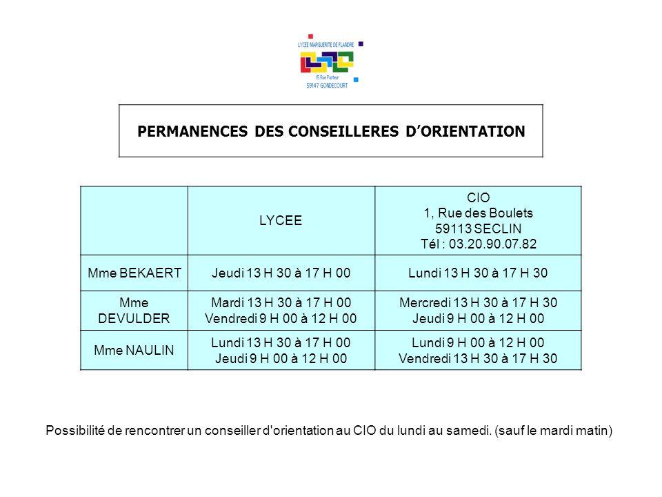 PERMANENCES DES CONSEILLERES DORIENTATION LYCEE CIO 1, Rue des Boulets 59113 SECLIN Tél : 03.20.90.07.82 Mme BEKAERTJeudi 13 H 30 à 17 H 00Lundi 13 H