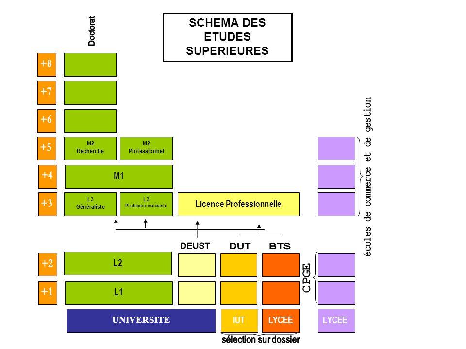 UNIVERSITE L1 IUTLYCEE L3 Professionnalisante L3 Généraliste L2 M1 M2 Professionnel M2 Recherche Licence Professionnelle SCHEMA DES ETUDES SUPERIEURES