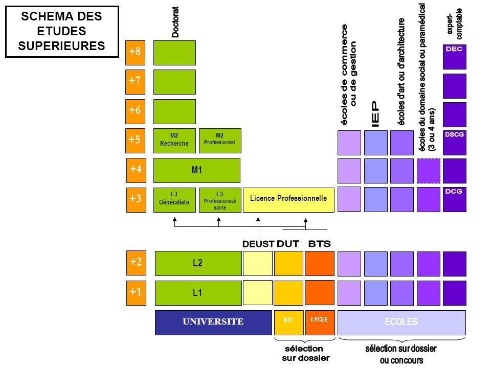 UNIVERSITE L1 IUT LYCEE ECOLES L3 Professionnali sante L3 Généraliste L2 M1 M2 Professionnel M2 Recherche Licence Professionnelle SCHEMA DES ETUDES SU