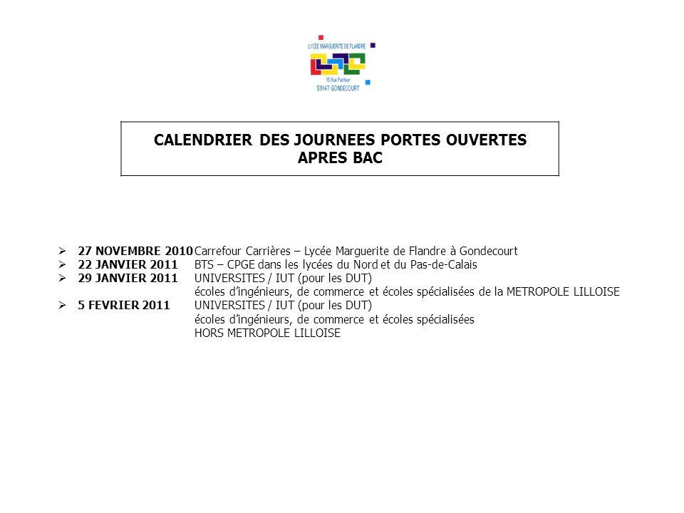 CALENDRIER DES JOURNEES PORTES OUVERTES APRES BAC 27 NOVEMBRE 2010Carrefour Carrières – Lycée Marguerite de Flandre à Gondecourt 22 JANVIER 2011BTS –