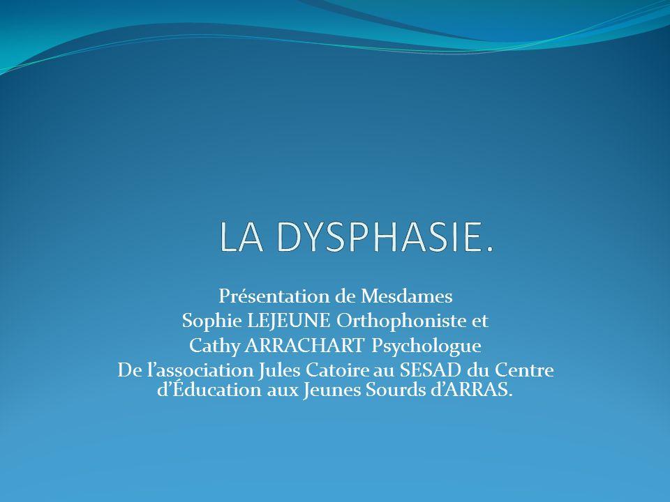 DEFINITION: La dysphasie est un trouble spécifique de lapprentissage du langage.