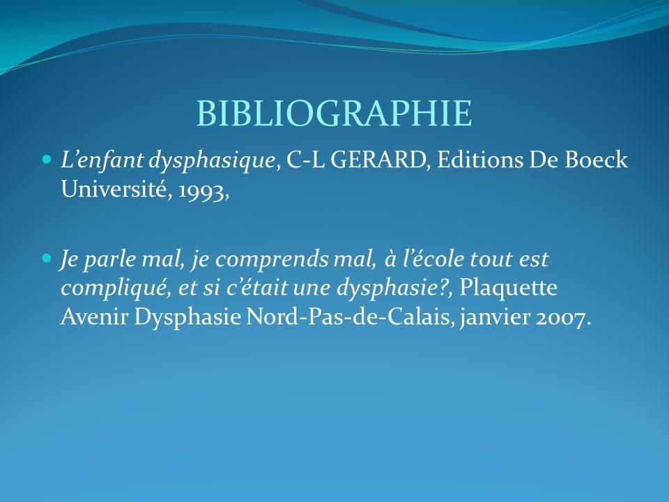 BIBLIOGRAPHIE Lenfant dysphasique, C-L GERARD, Editions De Boeck Université, 1993, Je parle mal, je comprends mal, à lécole tout est compliqué, et si