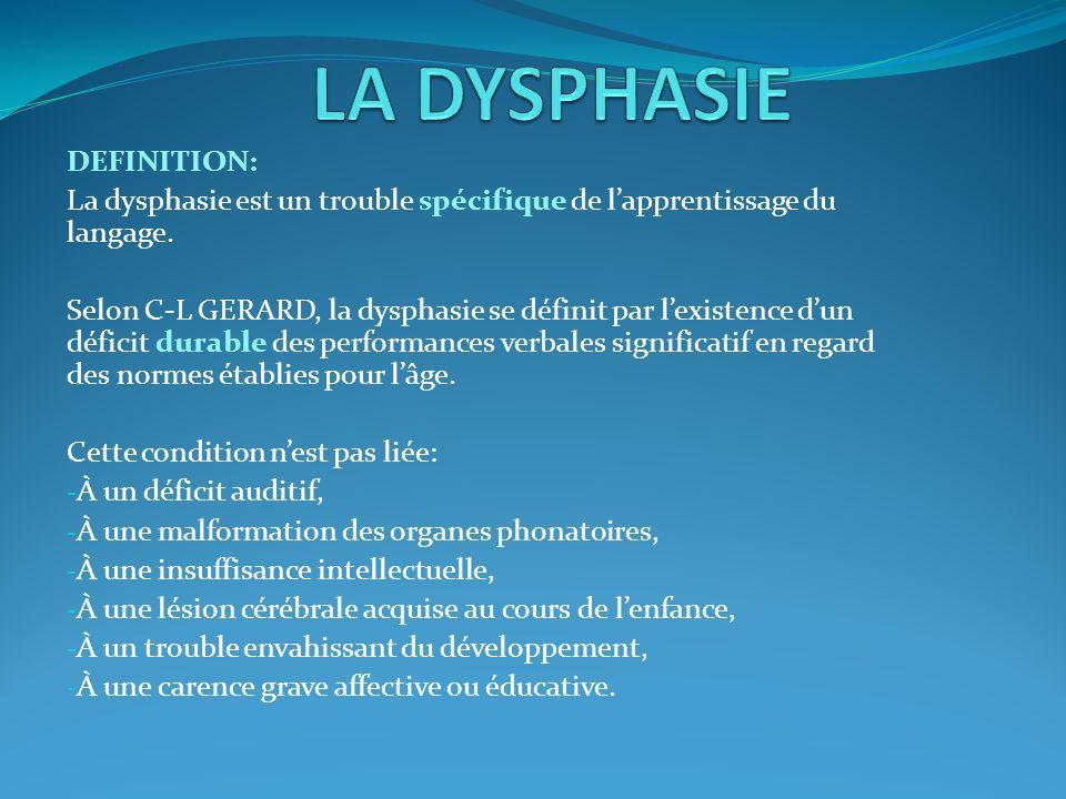 DEFINITION: La dysphasie est un trouble spécifique de lapprentissage du langage. Selon C-L GERARD, la dysphasie se définit par lexistence dun déficit