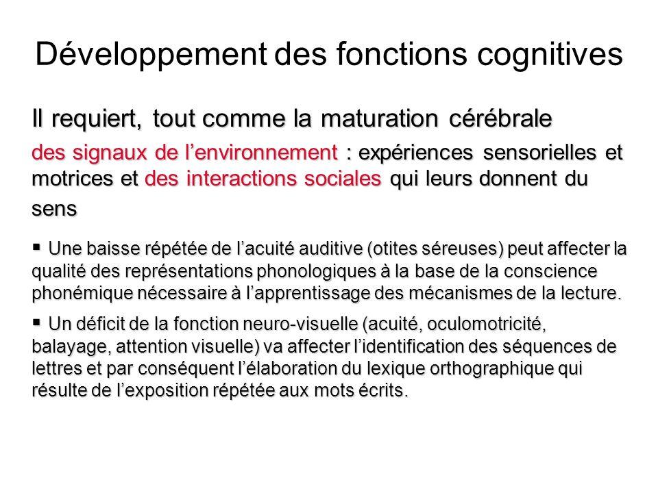 Développement des fonctions cognitives Il requiert, tout comme la maturation cérébrale des signaux de lenvironnement : expériences sensorielles et mot