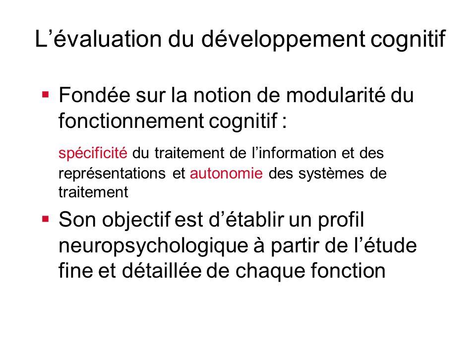 Lévaluation du développement cognitif Fondée sur la notion de modularité du fonctionnement cognitif : spécificité du traitement de linformation et des