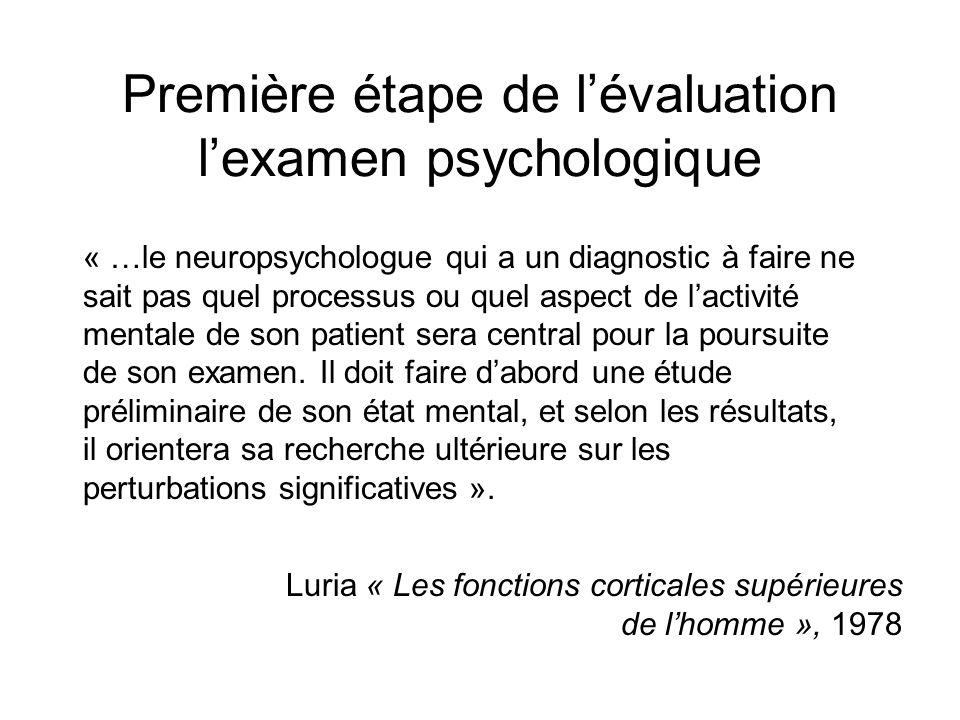 Première étape de lévaluation lexamen psychologique « …le neuropsychologue qui a un diagnostic à faire ne sait pas quel processus ou quel aspect de la