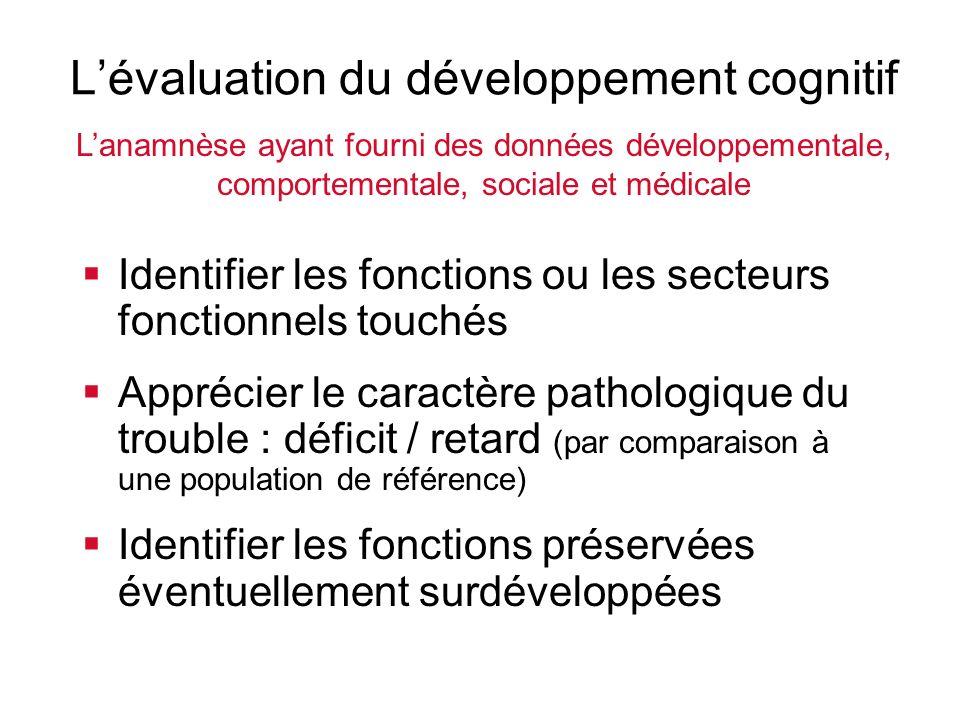 Lévaluation du développement cognitif Identifier les fonctions ou les secteurs fonctionnels touchés Apprécier le caractère pathologique du trouble : d