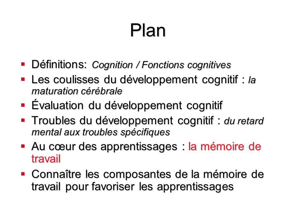 Plan Définitions: Cognition / Fonctions cognitives Définitions: Cognition / Fonctions cognitives Les coulisses du développement cognitif : la maturati