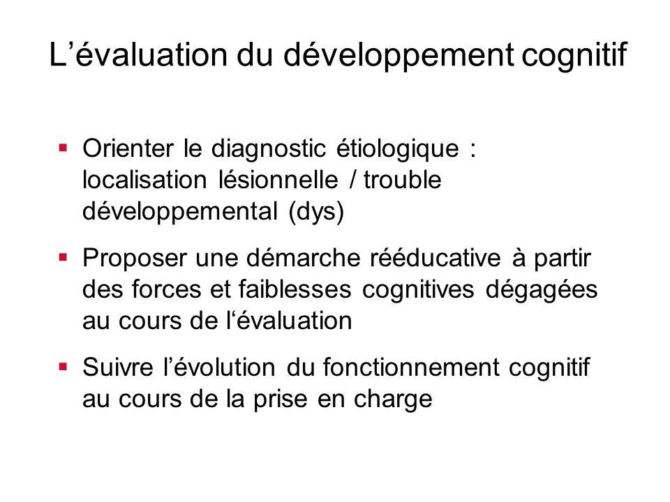 Lévaluation du développement cognitif Orienter le diagnostic étiologique : localisation lésionnelle / trouble développemental (dys) Proposer une démar