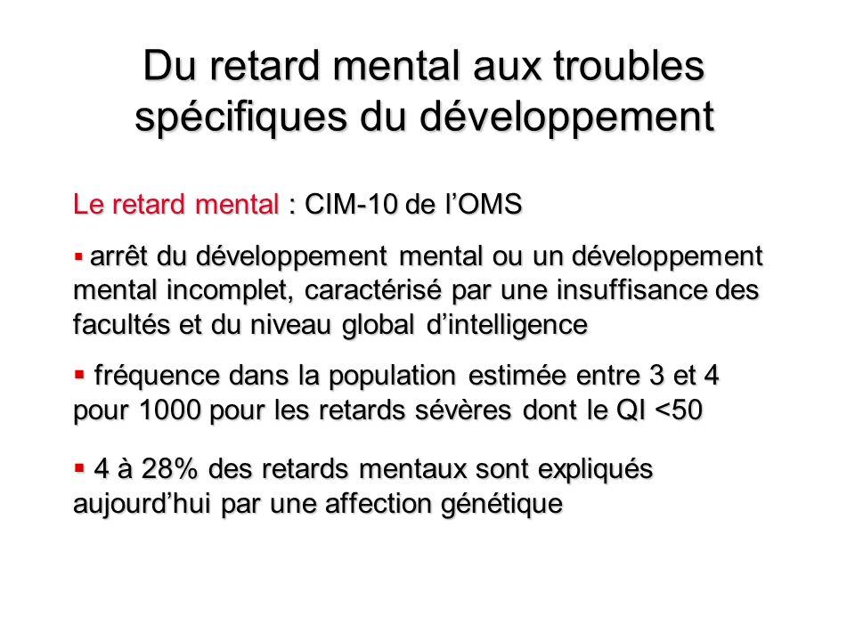 Du retard mental aux troubles spécifiques du développement Le retard mental : CIM-10 de lOMS arrêt du développement mental ou un développement mental
