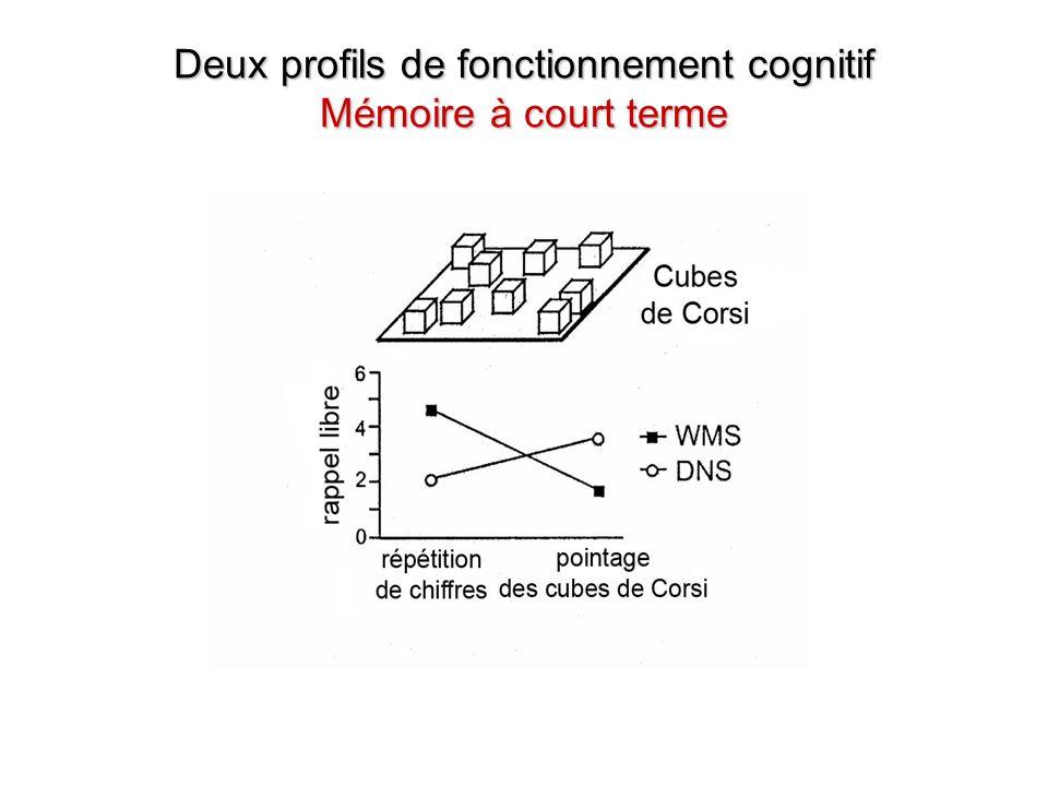 Deux profils de fonctionnement cognitif Mémoire à court terme