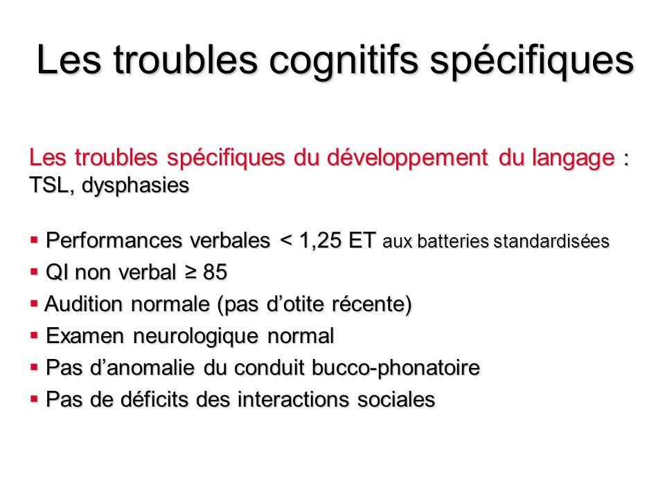 Les troubles cognitifs spécifiques Les troubles spécifiques du développement du langage : TSL, dysphasies Performances verbales < 1,25 ET aux batterie