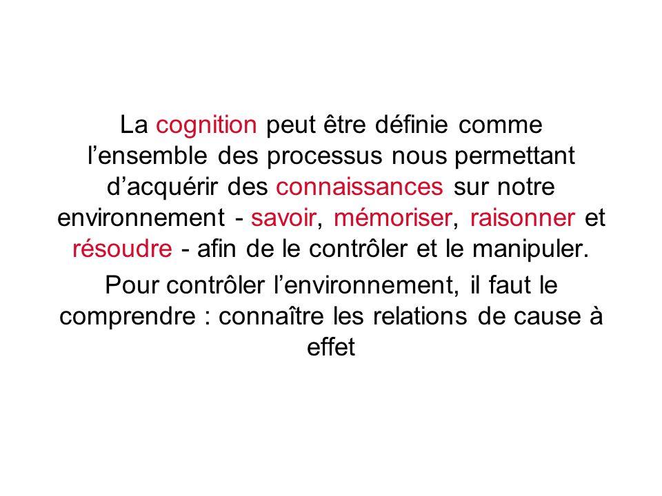 La cognition peut être définie comme lensemble des processus nous permettant dacquérir des connaissances sur notre environnement - savoir, mémoriser,