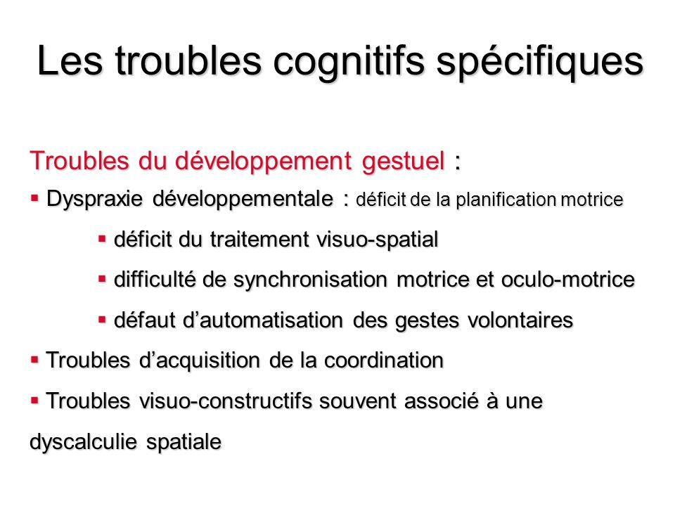 Les troubles cognitifs spécifiques Troubles du développement gestuel : Dyspraxie développementale : déficit de la planification motrice Dyspraxie déve