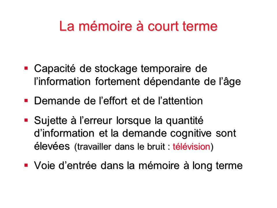 La mémoire à court terme Capacité de stockage temporaire de linformation fortement dépendante de lâge Capacité de stockage temporaire de linformation