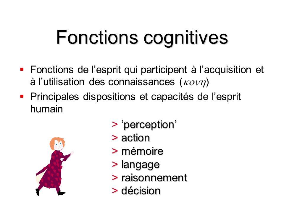 Fonctions cognitives Fonctions de lesprit qui participent à lacquisition et à lutilisation des connaissances ( ) Principales dispositions et capacités