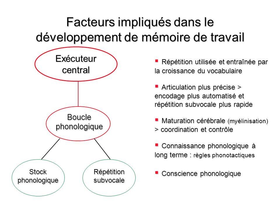 Facteurs impliqués dans le développement de mémoire de travail Répétition utilisée et entraînée par la croissance du vocabulaire Articulation plus pré