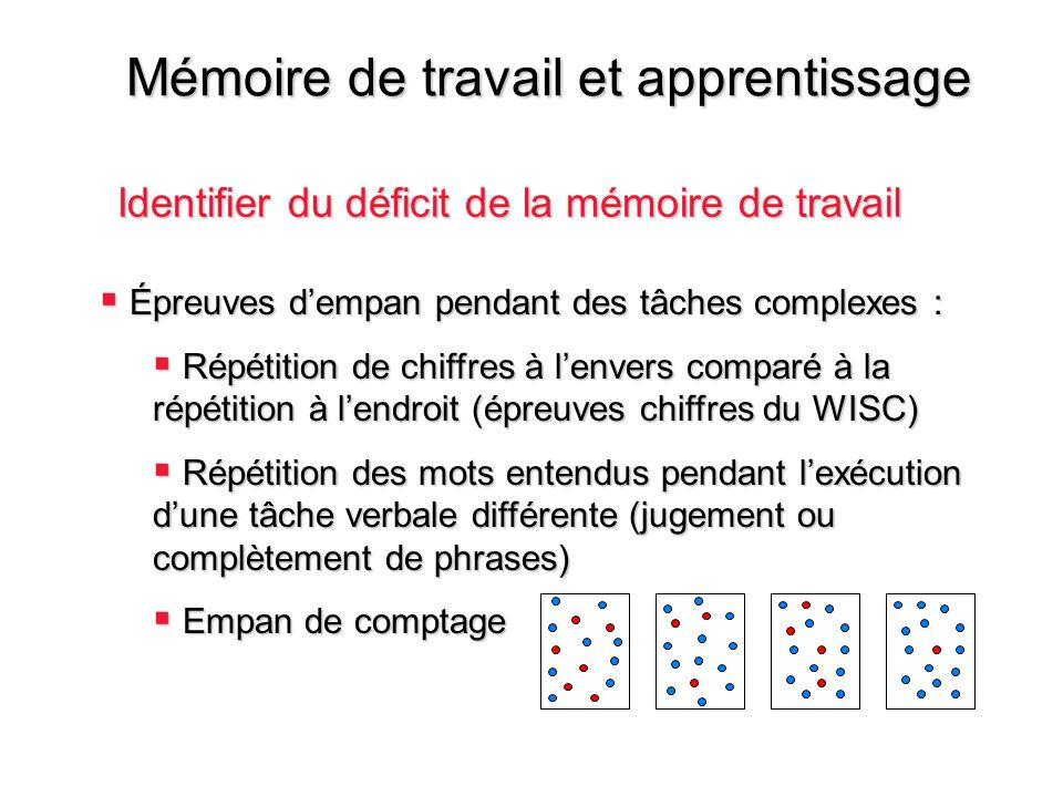Mémoire de travail et apprentissage Identifier du déficit de la mémoire de travail Épreuves dempan pendant des tâches complexes : Épreuves dempan pend