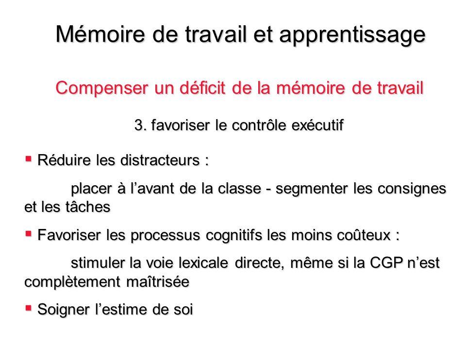 Mémoire de travail et apprentissage Compenser un déficit de la mémoire de travail Réduire les distracteurs : Réduire les distracteurs : placer à lavan