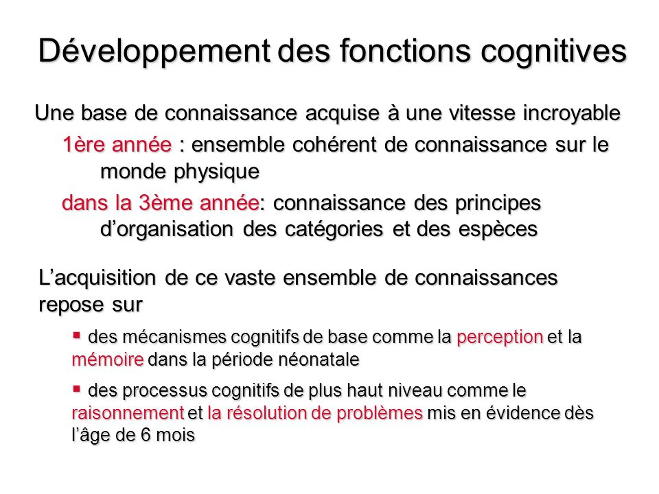 Développement des fonctions cognitives Une base de connaissance acquise à une vitesse incroyable 1ère année : ensemble cohérent de connaissance sur le