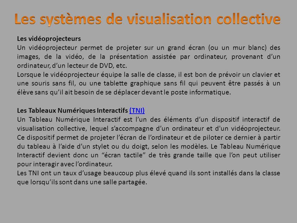Les vidéoprojecteurs Un vidéoprojecteur permet de projeter sur un grand écran (ou un mur blanc) des images, de la vidéo, de la présentation assistée p