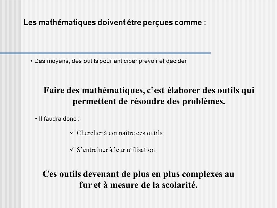 Les mathématiques doivent être perçues comme : Des moyens, des outils pour anticiper prévoir et décider Faire des mathématiques, cest élaborer des outils qui permettent de résoudre des problèmes.
