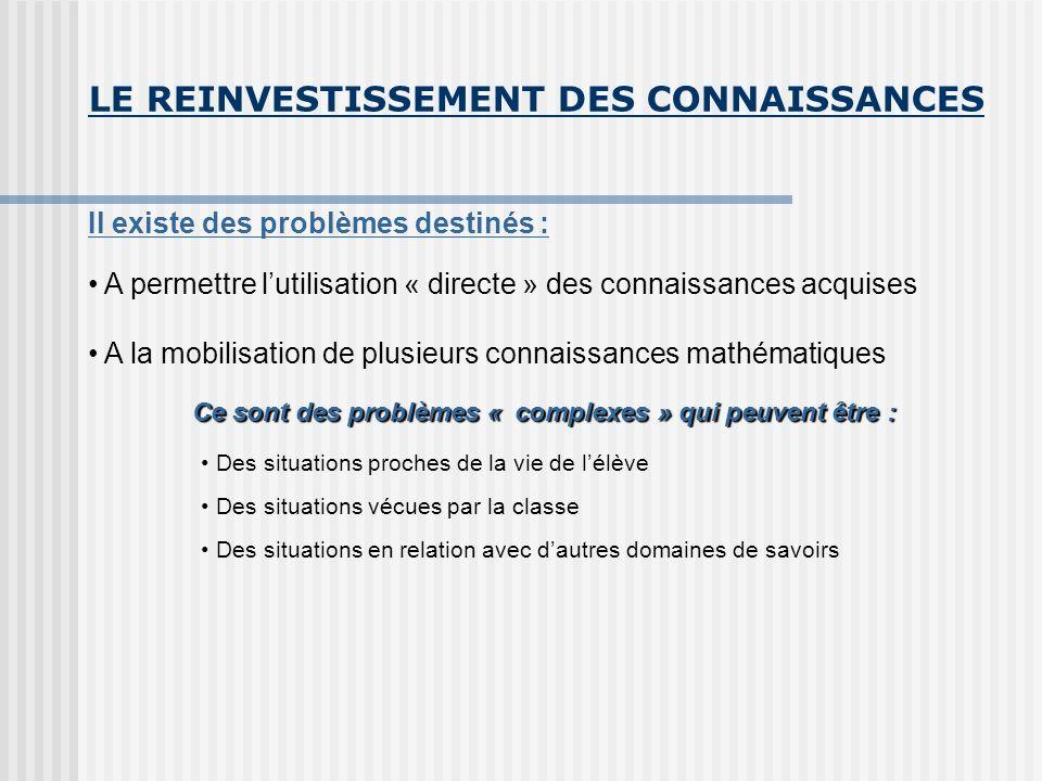 LE REINVESTISSEMENT DES CONNAISSANCES Il existe des problèmes destinés : A permettre lutilisation « directe » des connaissances acquises A la mobilisa