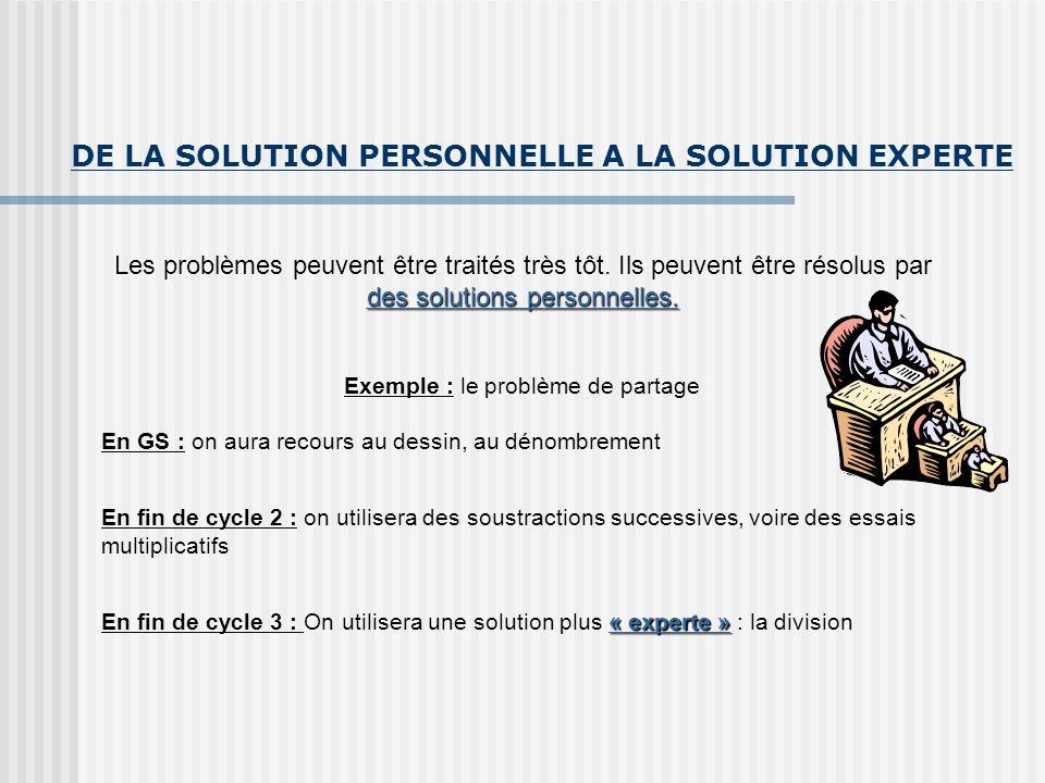 DE LA SOLUTION PERSONNELLE A LA SOLUTION EXPERTE Les problèmes peuvent être traités très tôt. Ils peuvent être résolus par des solutions personnelles.