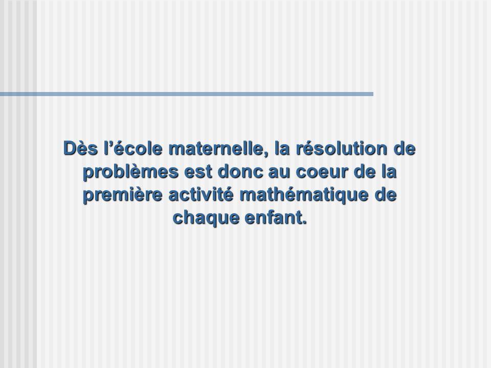 Dès lécole maternelle, la résolution de problèmes est donc au coeur de la première activité mathématique de chaque enfant.