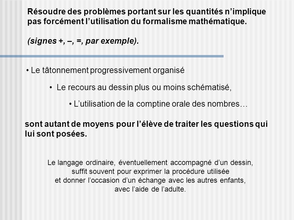 Résoudre des problèmes portant sur les quantités nimplique pas forcément lutilisation du formalisme mathématique. (signes +, –, =, par exemple). Le tâ