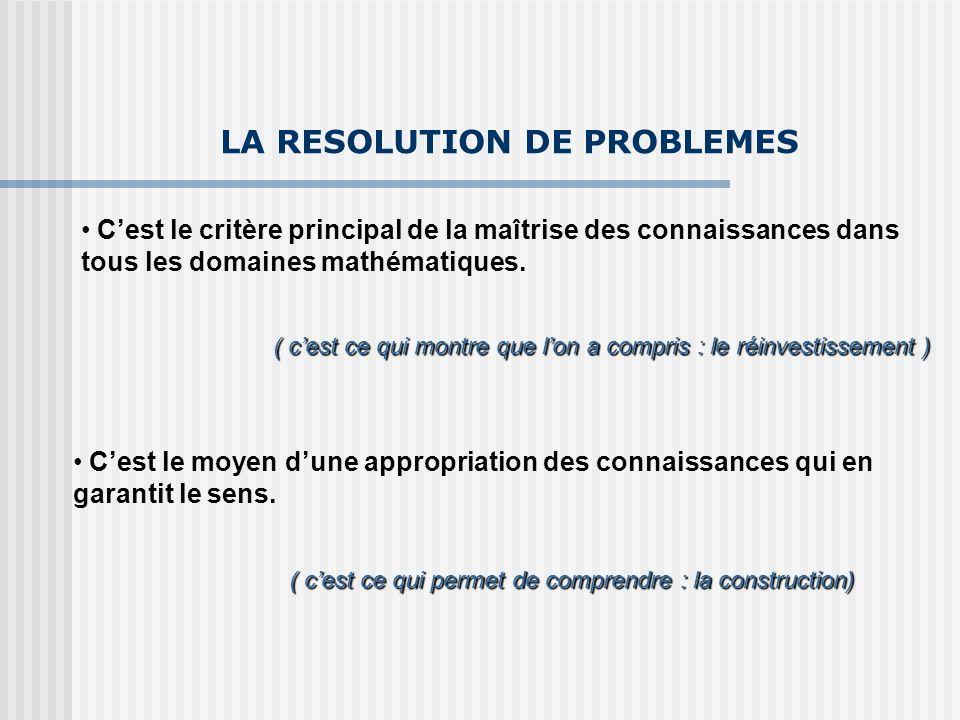LA RESOLUTION DE PROBLEMES Cest le critère principal de la maîtrise des connaissances dans tous les domaines mathématiques. ( cest ce qui montre que l