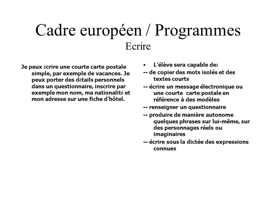 Cadre européen / Programmes Ecrire Je peux é crire une courte carte postale simple, par exemple de vacances. Je peux porter des d é tails personnels d