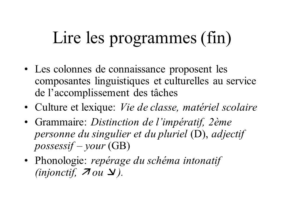 Lire les programmes (fin) Les colonnes de connaissance proposent les composantes linguistiques et culturelles au service de laccomplissement des tâche