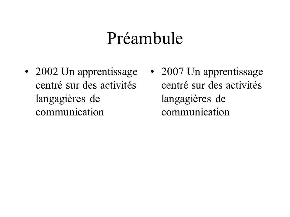 Préambule 2002 Un apprentissage centré sur des activités langagières de communication 2007 Un apprentissage centré sur des activités langagières de communication