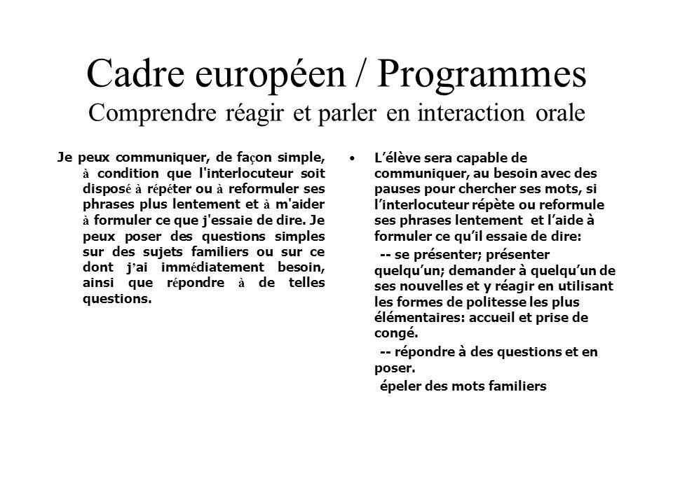 Cadre européen / Programmes Comprendre réagir et parler en interaction orale Je peux communiquer, de fa ç on simple, à condition que l'interlocuteur s