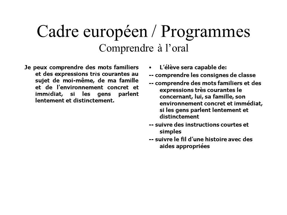 Cadre européen / Programmes Comprendre à loral Je peux comprendre des mots familiers et des expressions tr è s courantes au sujet de moi-même, de ma f