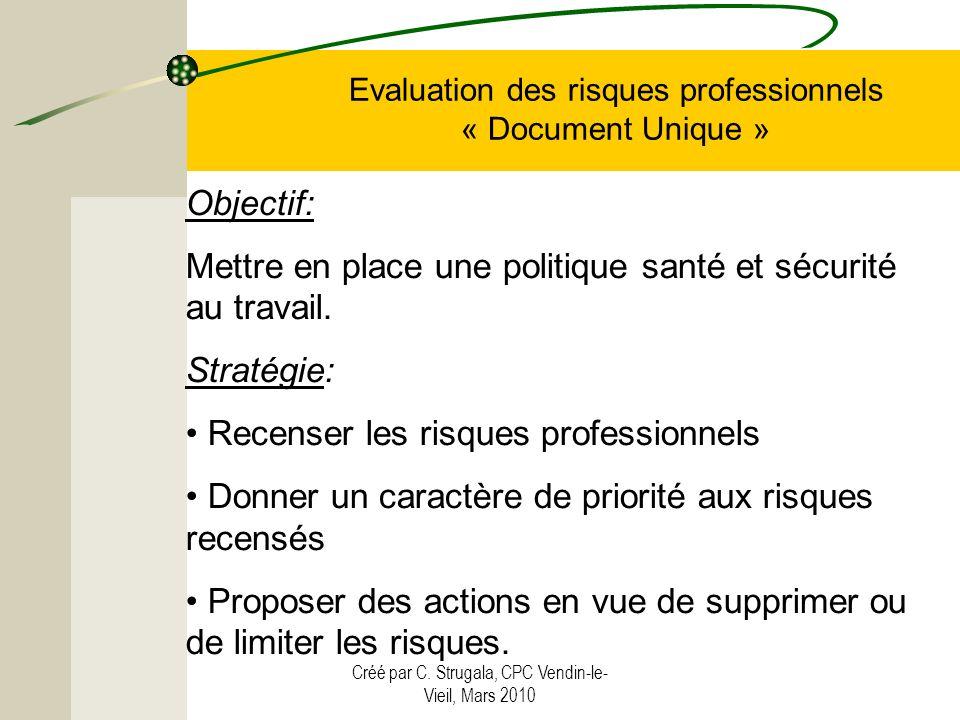Créé par C. Strugala, CPC Vendin-le- Vieil, Mars 2010 Evaluation des risques professionnels « Document Unique » Objectif: Mettre en place une politiqu
