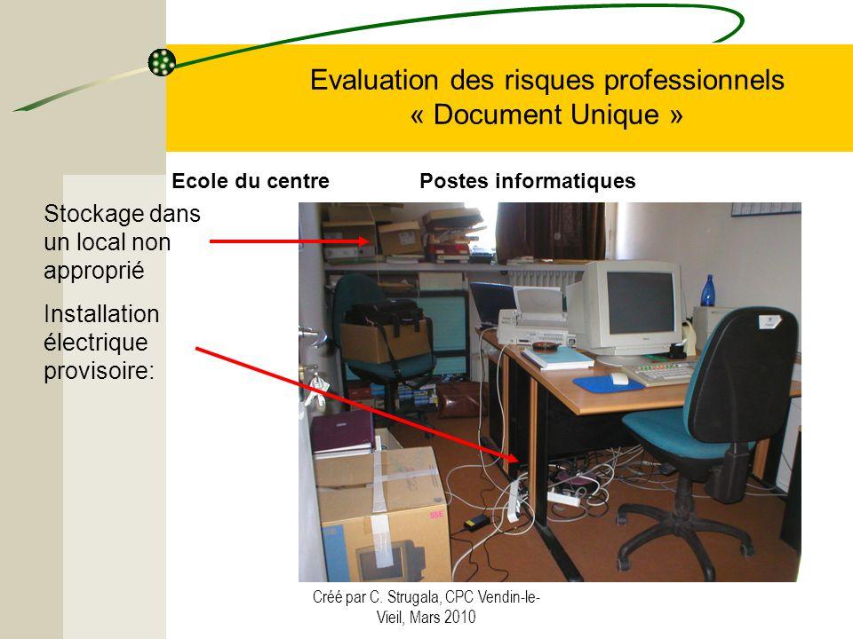 Créé par C. Strugala, CPC Vendin-le- Vieil, Mars 2010 Evaluation des risques professionnels « Document Unique » Stockage dans un local non approprié I