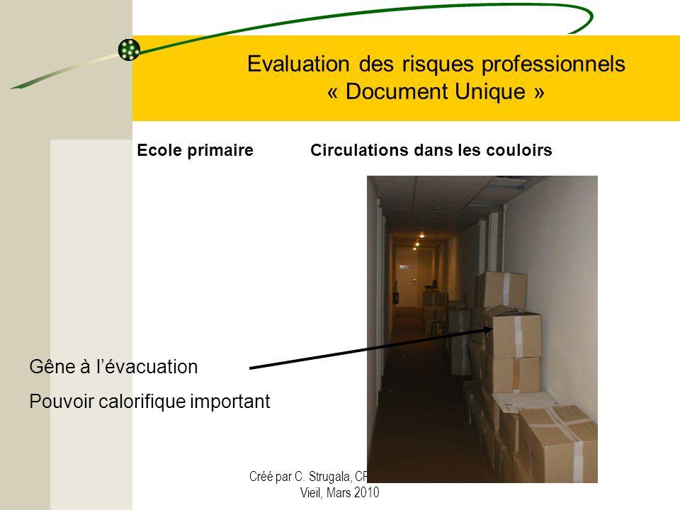 Créé par C. Strugala, CPC Vendin-le- Vieil, Mars 2010 Evaluation des risques professionnels « Document Unique » Gêne à lévacuation Pouvoir calorifique