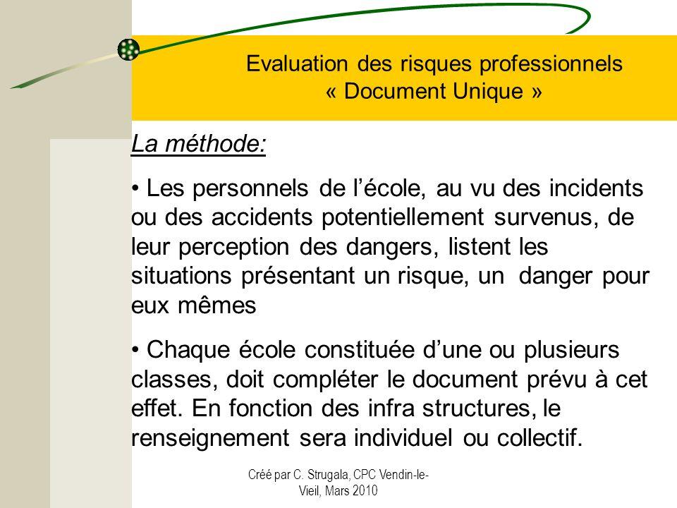 Créé par C. Strugala, CPC Vendin-le- Vieil, Mars 2010 Evaluation des risques professionnels « Document Unique » La méthode: Les personnels de lécole,