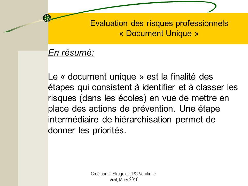 Créé par C. Strugala, CPC Vendin-le- Vieil, Mars 2010 Evaluation des risques professionnels « Document Unique » En résumé: Le « document unique » est