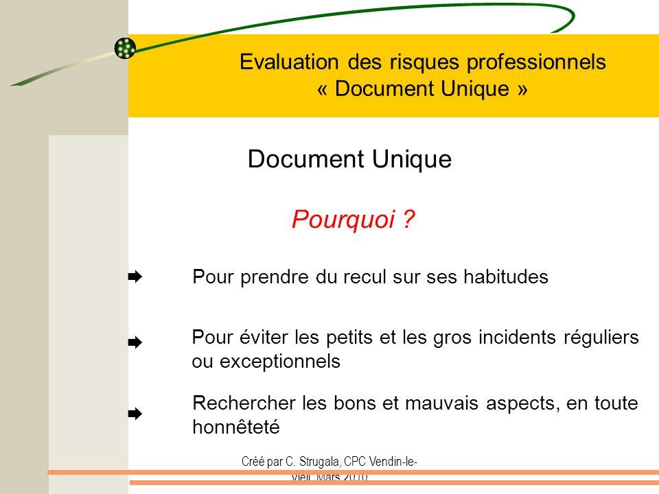 Créé par C. Strugala, CPC Vendin-le- Vieil, Mars 2010 Evaluation des risques professionnels « Document Unique » Document Unique Pourquoi ? Pour prendr
