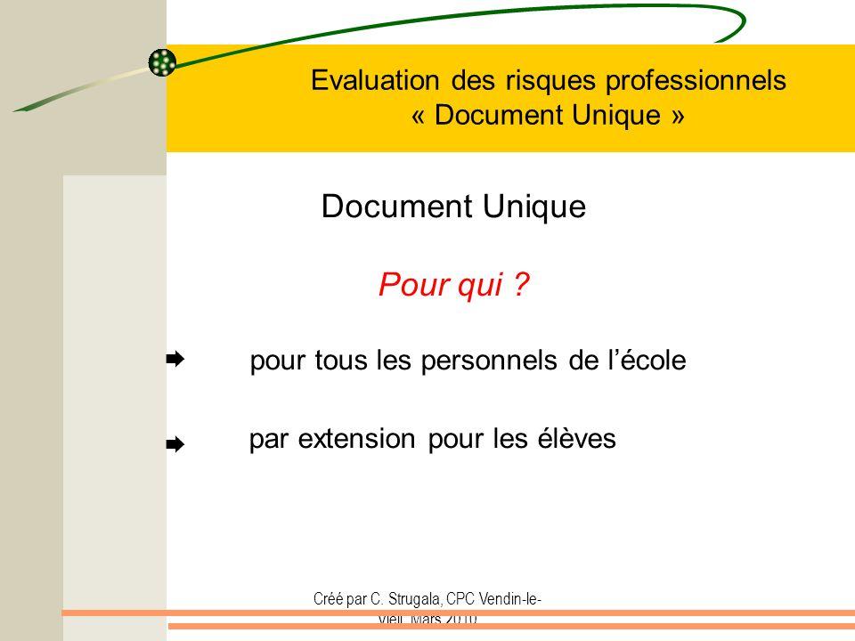 Créé par C. Strugala, CPC Vendin-le- Vieil, Mars 2010 Evaluation des risques professionnels « Document Unique » Document Unique Pour qui ? pour tous l