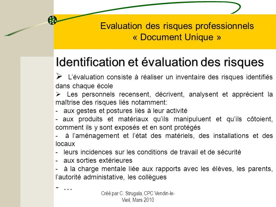Créé par C. Strugala, CPC Vendin-le- Vieil, Mars 2010 Evaluation des risques professionnels « Document Unique » Lévaluation consiste à réaliser un inv