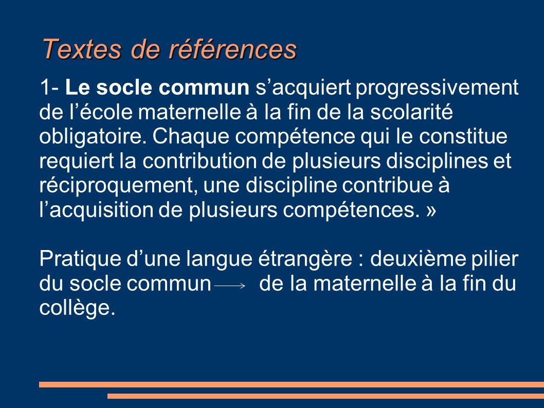 Textes de références 1- Le socle commun sacquiert progressivement de lécole maternelle à la fin de la scolarité obligatoire. Chaque compétence qui le