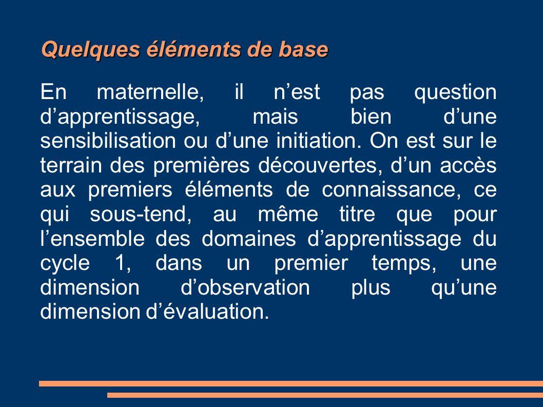 Quelques éléments de base En maternelle, il nest pas question dapprentissage, mais bien dune sensibilisation ou dune initiation.