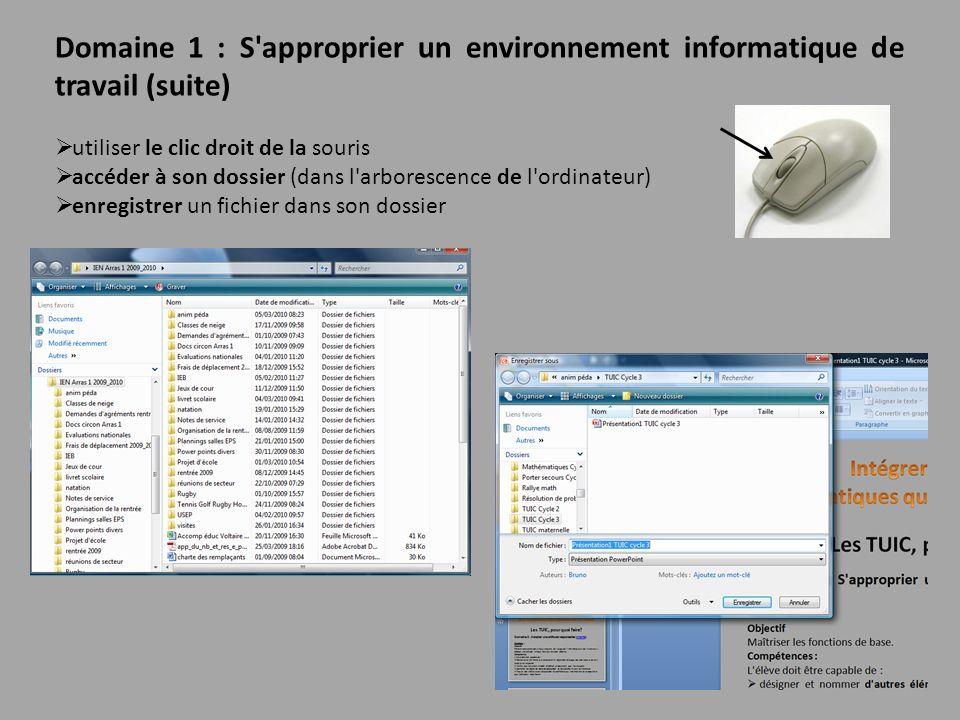 Domaine 1 : S'approprier un environnement informatique de travail (suite) utiliser le clic droit de la souris accéder à son dossier (dans l'arborescen
